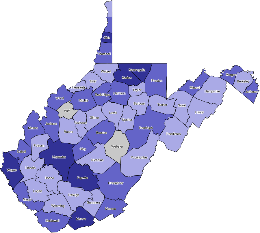 map of west virginia counties. West Virginia Coverage Map