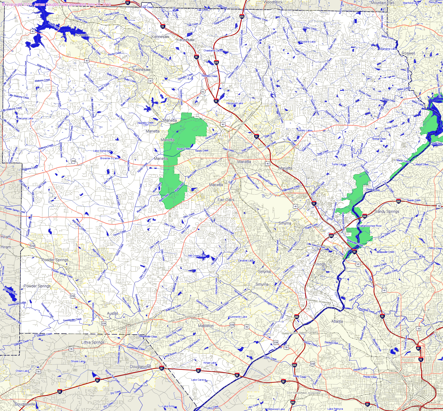County Map Of Georgia With Roads.Landmarkhunter Com Cobb County Georgia