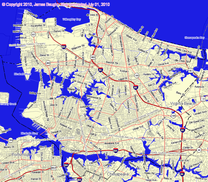 Map Of Norfolk Va Related Keywords Amp Suggestions  Map Of