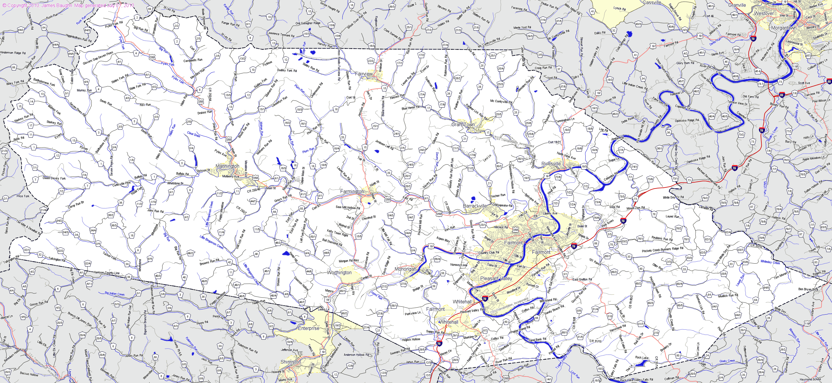 Marion County West Virginia Map