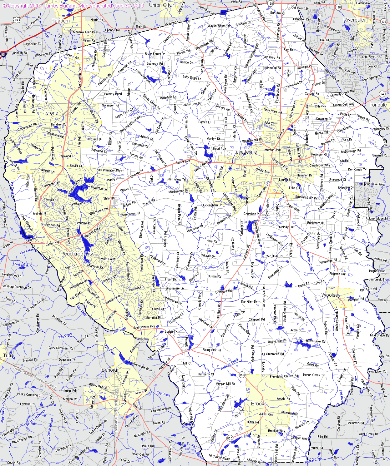 County Map Of Georgia With Roads.Landmarkhunter Com Fayette County Georgia