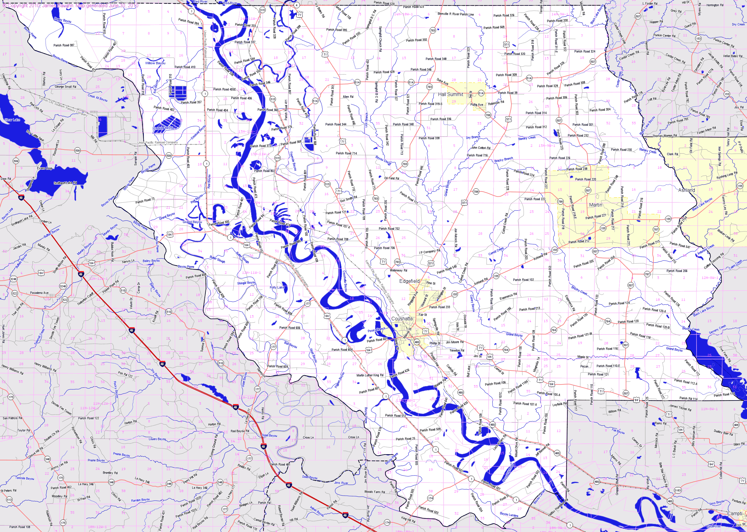 Bridgehuntercom Red River Parish Louisiana - Red river map us