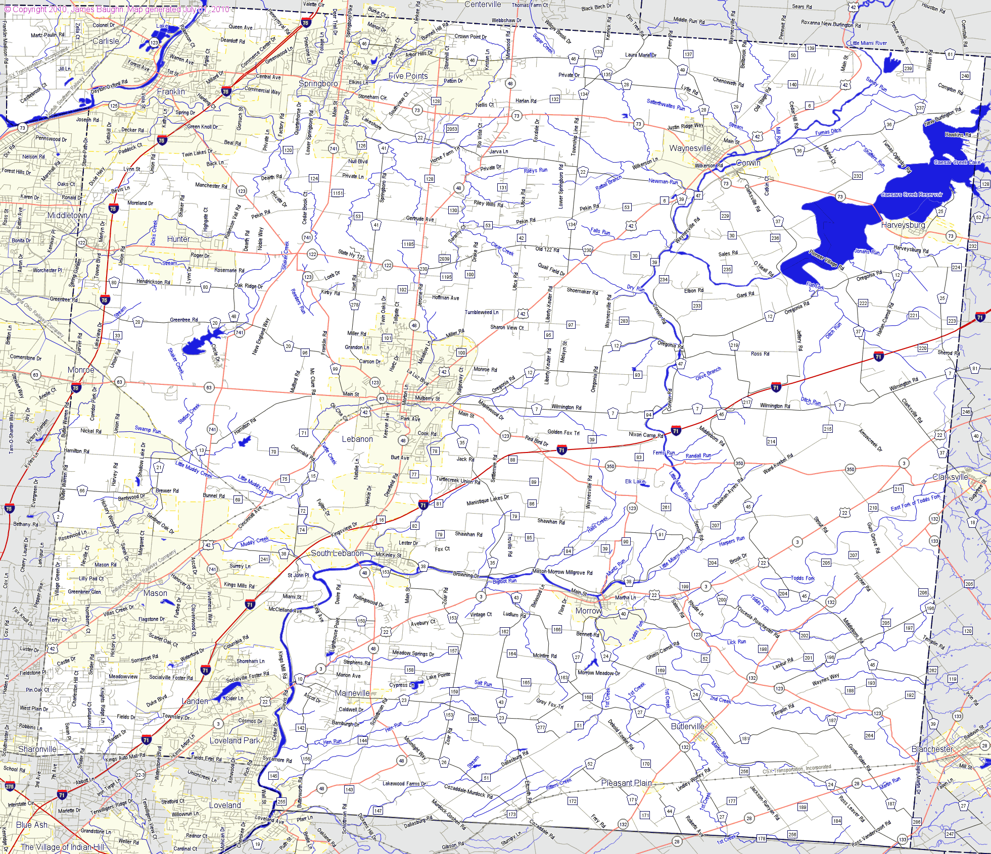 Bridgehuntercom Warren County Ohio - County maps of ohio
